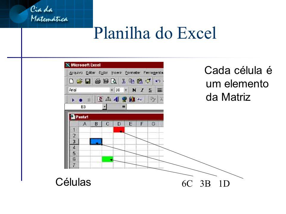 Planilha do Excel Cada célula é um elemento da Matriz Células 6C 3B 1D