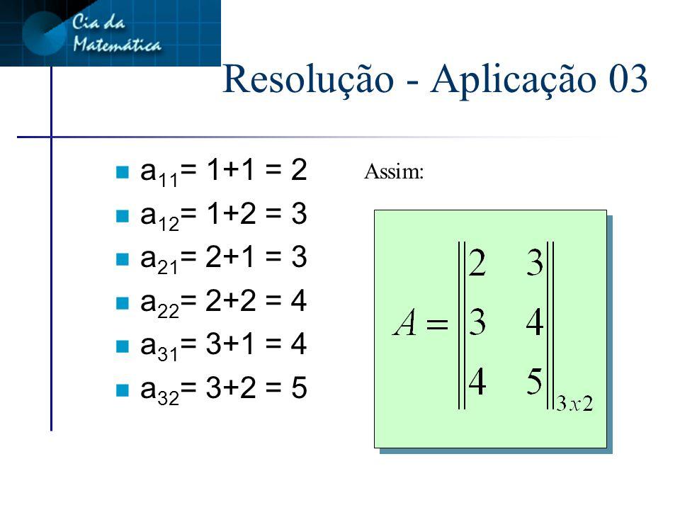 Resolução - Aplicação 03 a11= 1+1 = 2 a12= 1+2 = 3 a21= 2+1 = 3