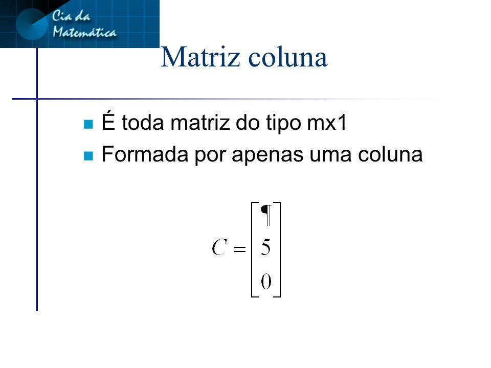 Matriz coluna É toda matriz do tipo mx1 Formada por apenas uma coluna