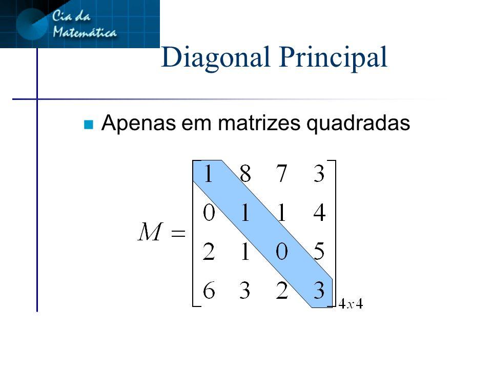Diagonal Principal Apenas em matrizes quadradas