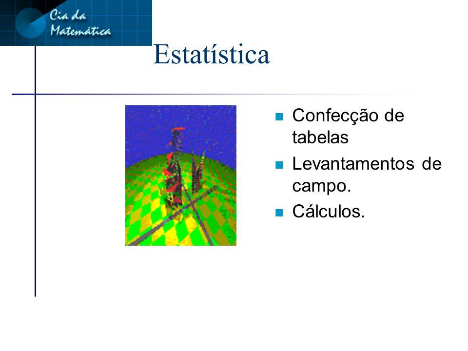 Estatística Confecção de tabelas Levantamentos de campo. Cálculos.