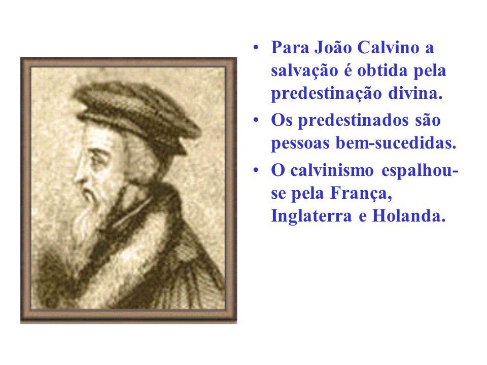 Para João Calvino a salvação é obtida pela predestinação divina.