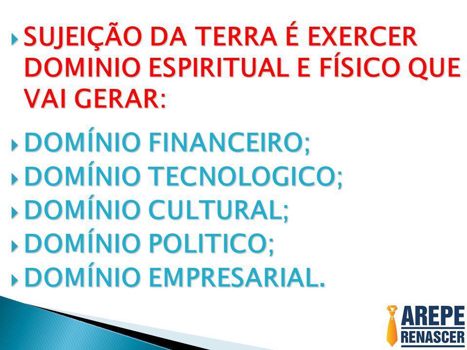 SUJEIÇÃO DA TERRA É EXERCER DOMINIO ESPIRITUAL E FÍSICO QUE VAI GERAR: