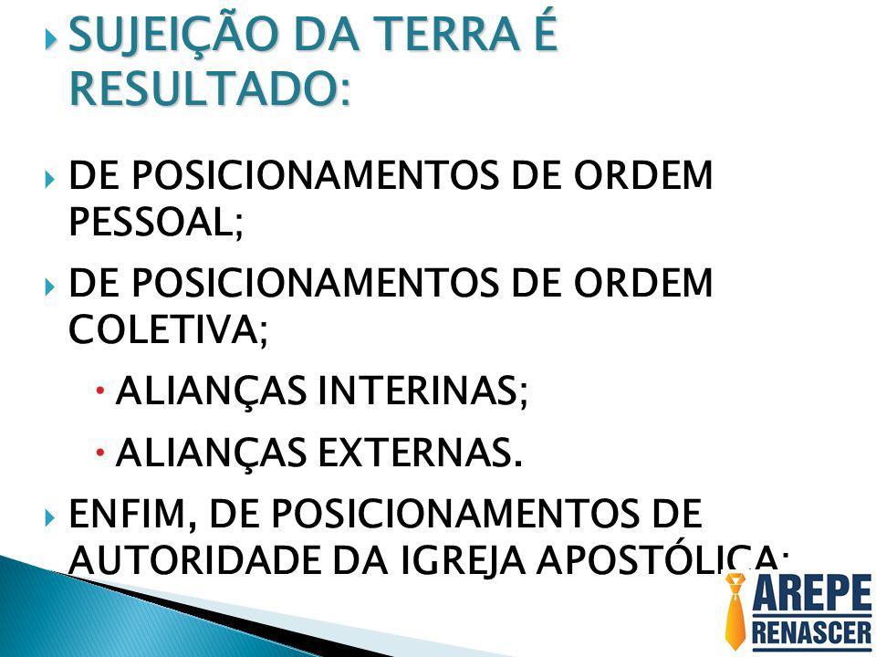 SUJEIÇÃO DA TERRA É RESULTADO: