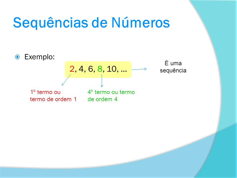 Sequências de Números 2, 4, 6, 8, 10, … Exemplo: É uma sequência
