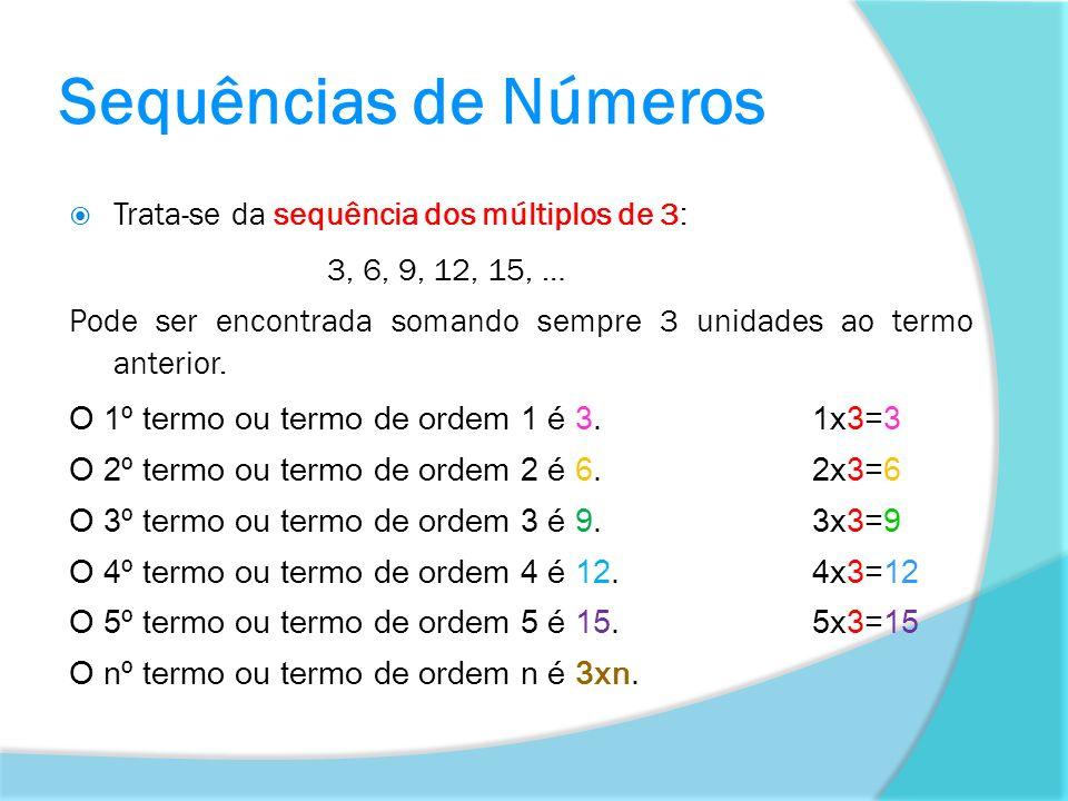 Sequências de Números Trata-se da sequência dos múltiplos de 3:
