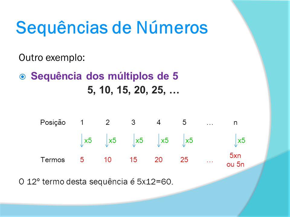 Sequências de Números Outro exemplo: Sequência dos múltiplos de 5