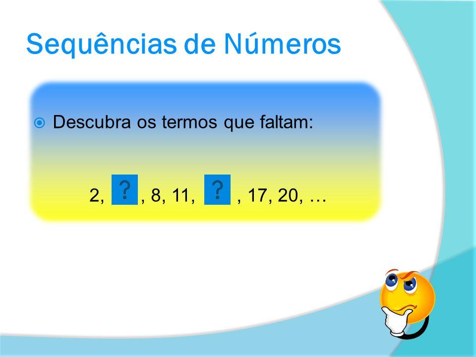 Sequências de Números Descubra os termos que faltam:
