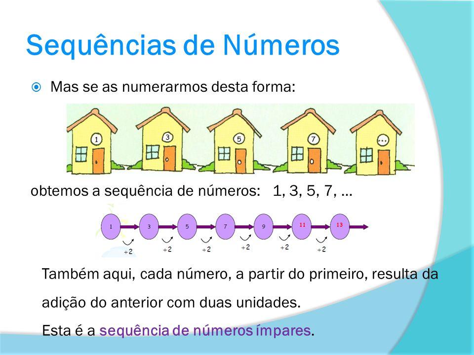 Sequências de Números Mas se as numerarmos desta forma: