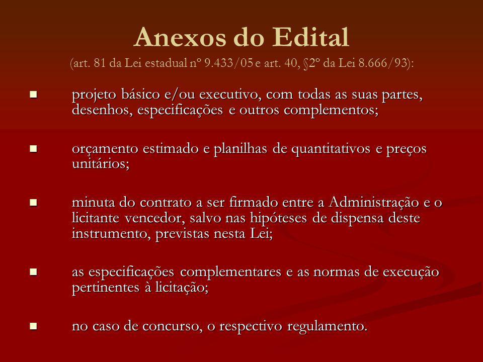 Anexos do Edital (art. 81 da Lei estadual nº 9. 433/05 e art