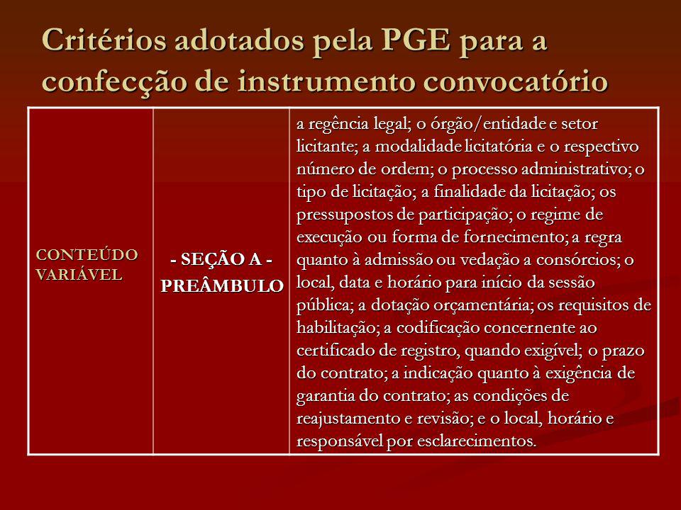 Critérios adotados pela PGE para a confecção de instrumento convocatório