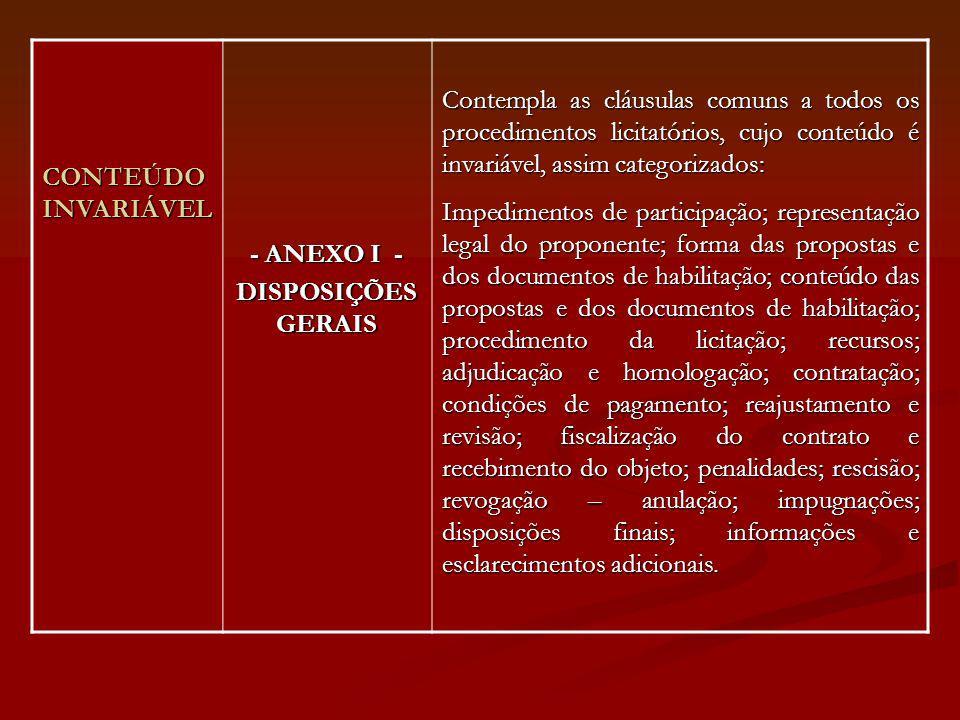 CONTEÚDO INVARIÁVEL - ANEXO I - DISPOSIÇÕES GERAIS.