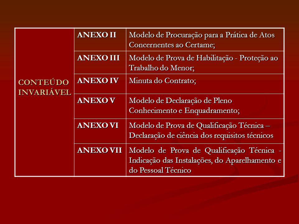 CONTEÚDO INVARIÁVEL ANEXO II. Modelo de Procuração para a Prática de Atos Concernentes ao Certame;