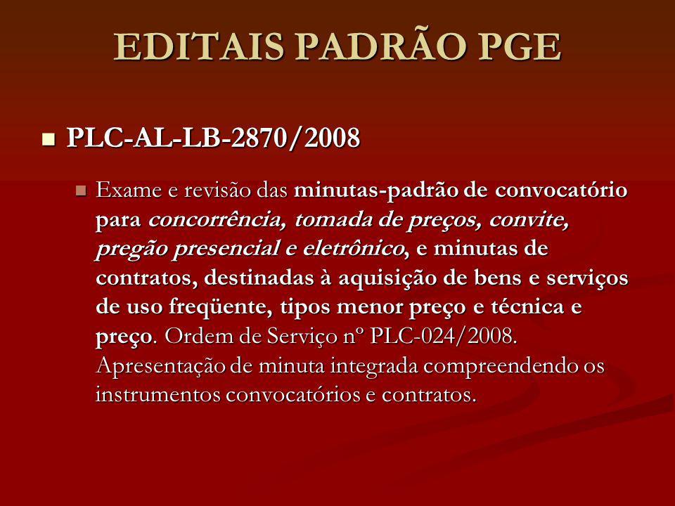 EDITAIS PADRÃO PGE PLC-AL-LB-2870/2008