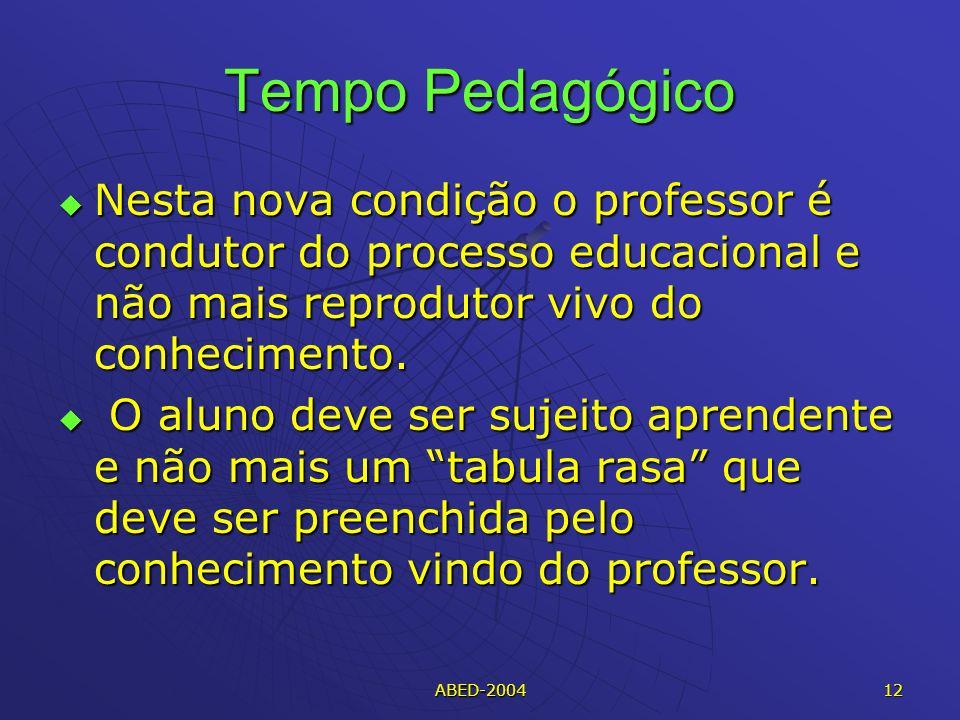 Tempo Pedagógico Nesta nova condição o professor é condutor do processo educacional e não mais reprodutor vivo do conhecimento.