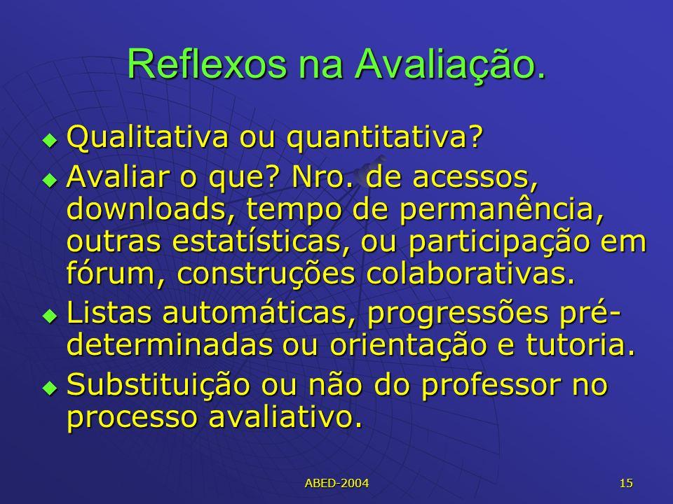 Reflexos na Avaliação. Qualitativa ou quantitativa