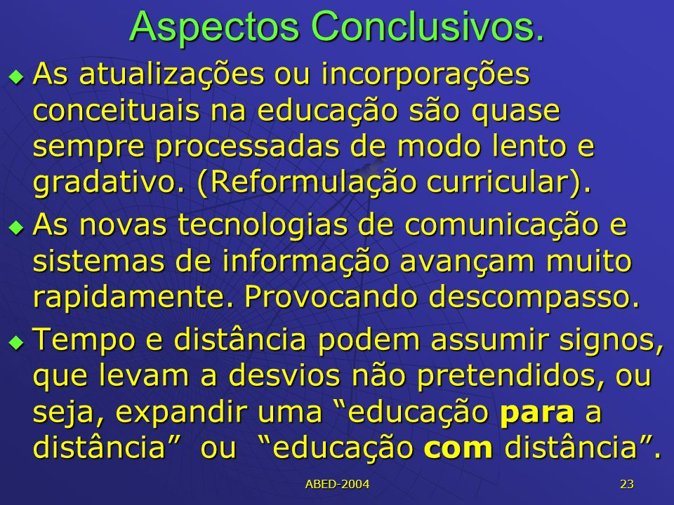 Aspectos Conclusivos.