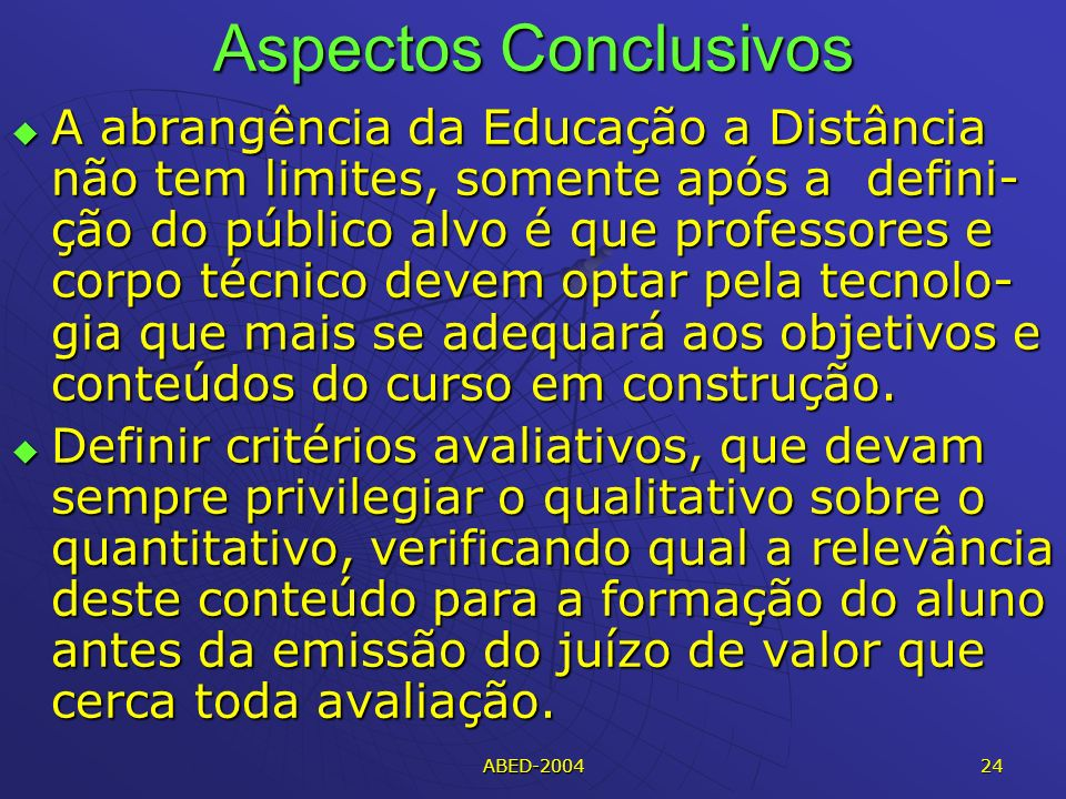 Aspectos Conclusivos