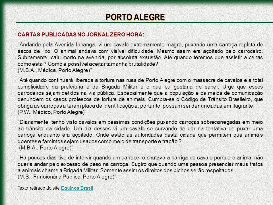 PORTO ALEGRE CARTAS PUBLICADAS NO JORNAL ZERO HORA: