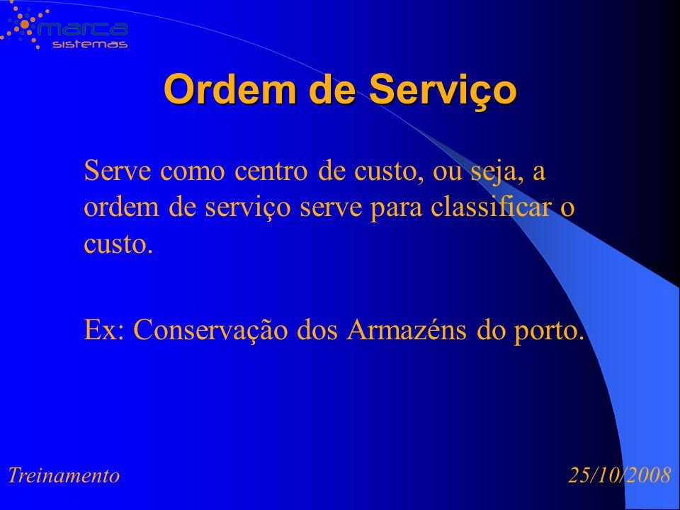 Ordem de Serviço Serve como centro de custo, ou seja, a ordem de serviço serve para classificar o custo. Ex: Conservação dos Armazéns do porto.