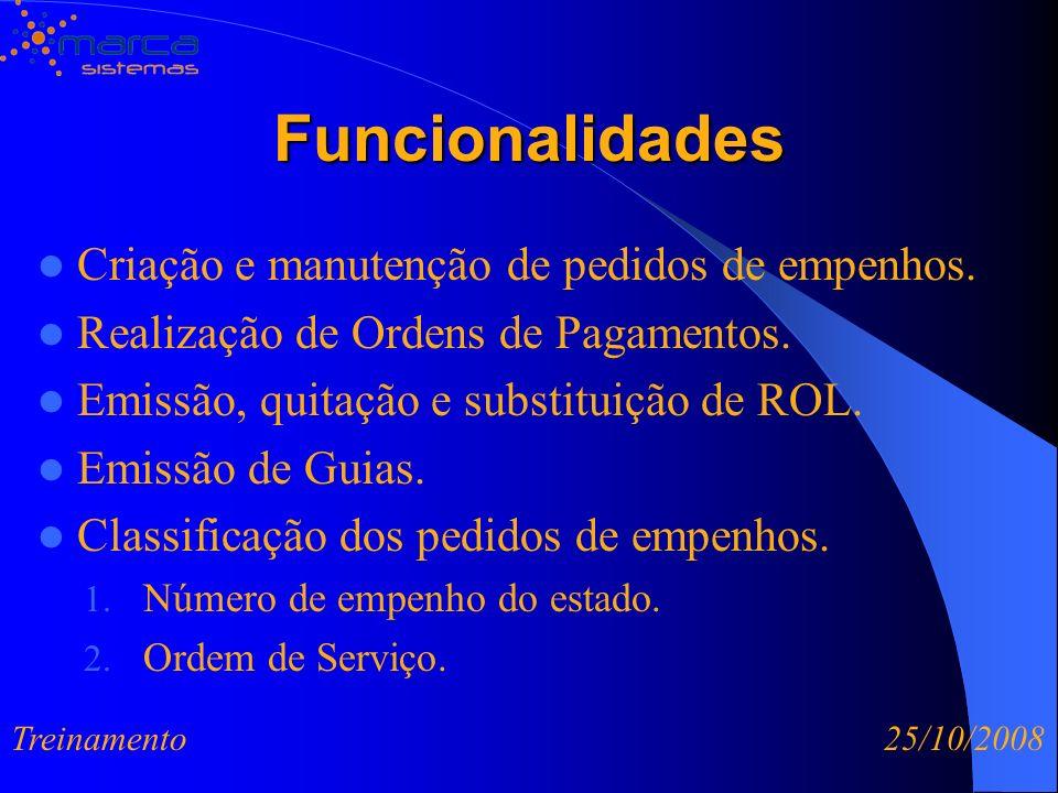 Funcionalidades Criação e manutenção de pedidos de empenhos.