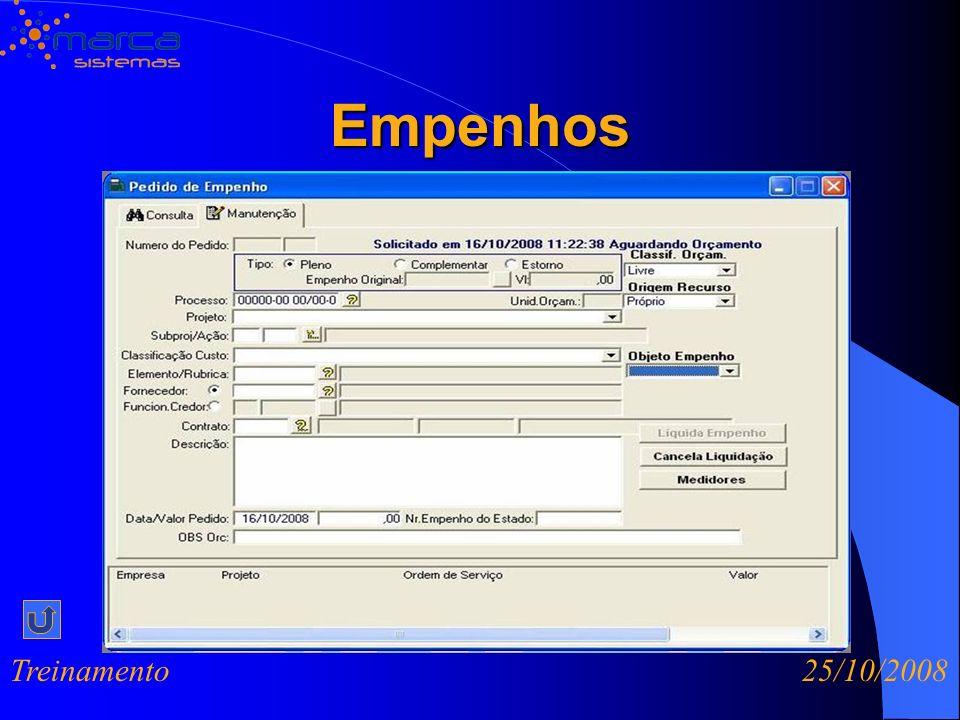 Empenhos Treinamento 25/10/2008