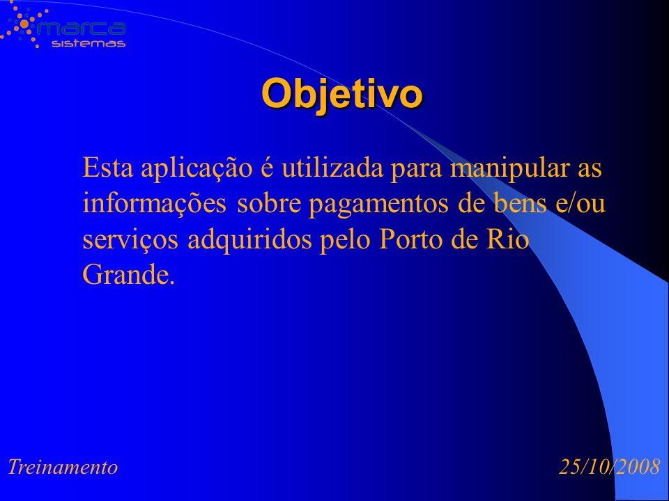 Objetivo Esta aplicação é utilizada para manipular as informações sobre pagamentos de bens e/ou serviços adquiridos pelo Porto de Rio Grande.