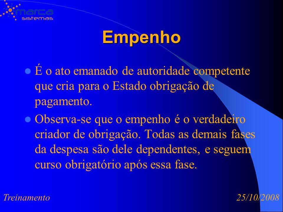 Empenho É o ato emanado de autoridade competente que cria para o Estado obrigação de pagamento.