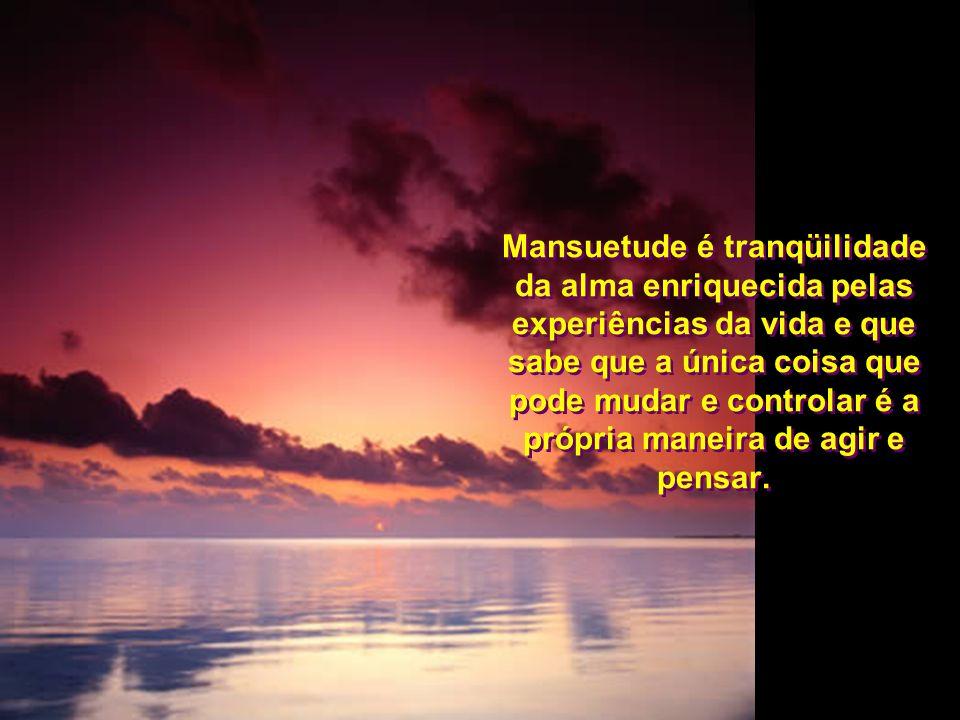 Mansuetude é tranqüilidade da alma enriquecida pelas experiências da vida e que sabe que a única coisa que pode mudar e controlar é a própria maneira de agir e pensar.