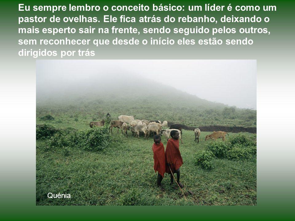 Eu sempre lembro o conceito básico: um líder é como um pastor de ovelhas. Ele fica atrás do rebanho, deixando o mais esperto sair na frente, sendo seguido pelos outros, sem reconhecer que desde o início eles estão sendo dirigidos por trás