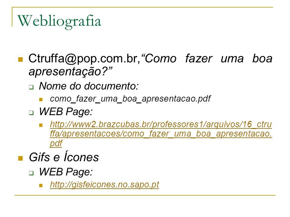 Webliografia Ctruffa@pop.com.br, Como fazer uma boa apresentação