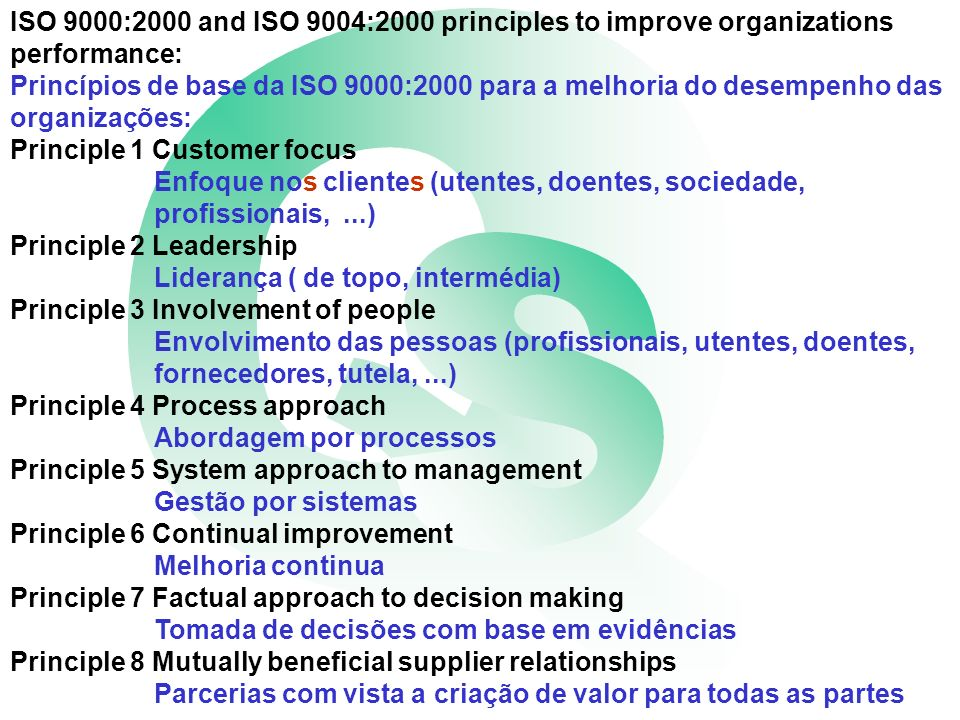 ISO 9000:2000 and ISO 9004:2000 principles to improve organizations performance: