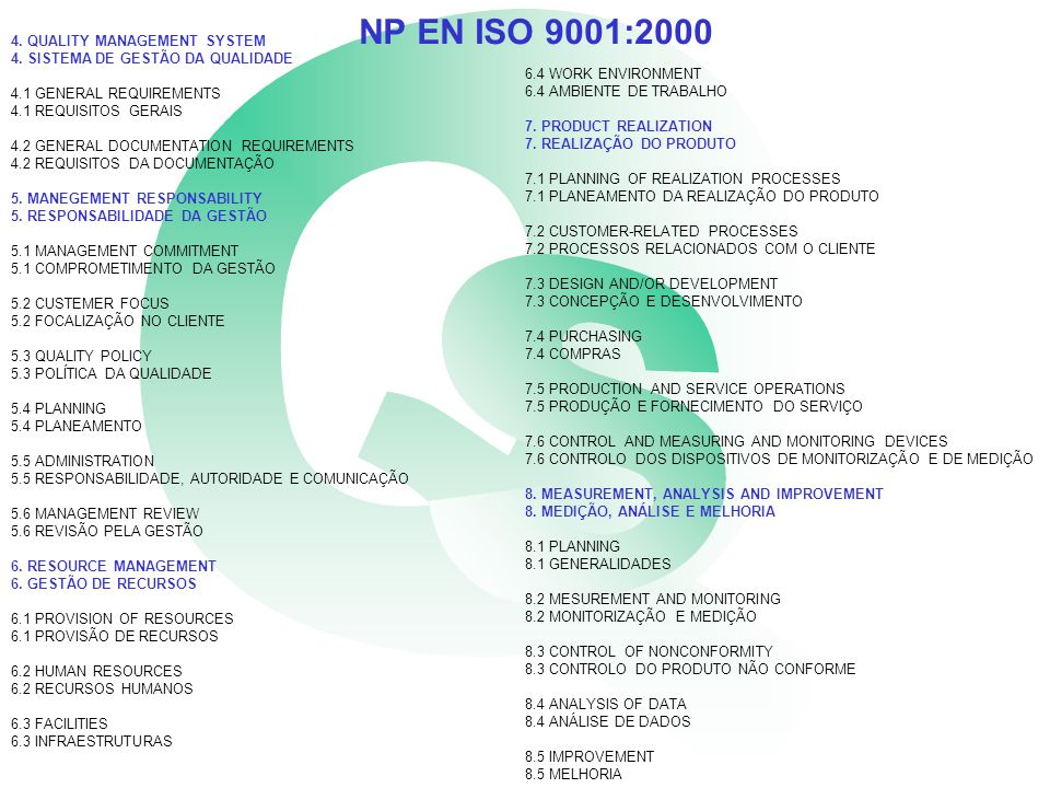 NP EN ISO 9001:2000 4. QUALITY MANAGEMENT SYSTEM