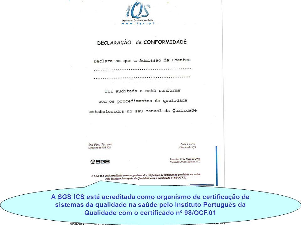 A SGS ICS está acreditada como organismo de certificação de sistemas da qualidade na saúde pelo Instituto Português da Qualidade com o certificado nº 98/OCF.01