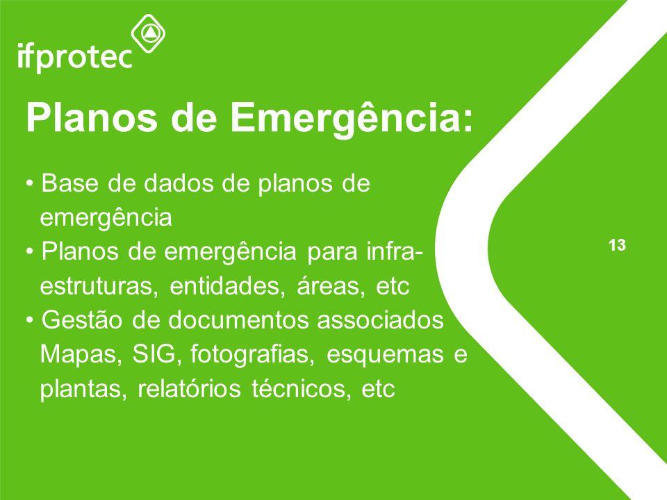 Planos de Emergência: Base de dados de planos de emergência