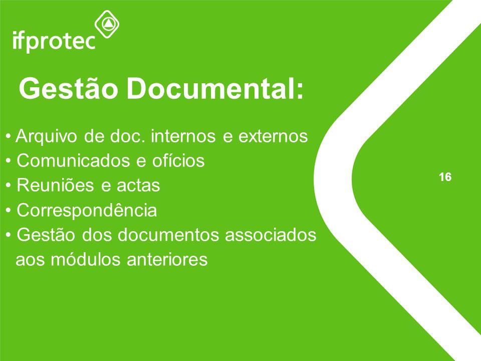 Gestão Documental: Arquivo de doc. internos e externos