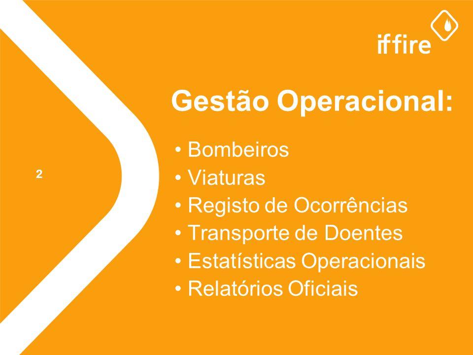 Gestão Operacional: Bombeiros Viaturas Registo de Ocorrências