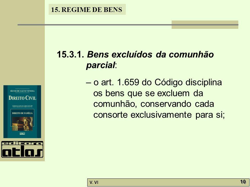 15.3.1. Bens excluídos da comunhão parcial: