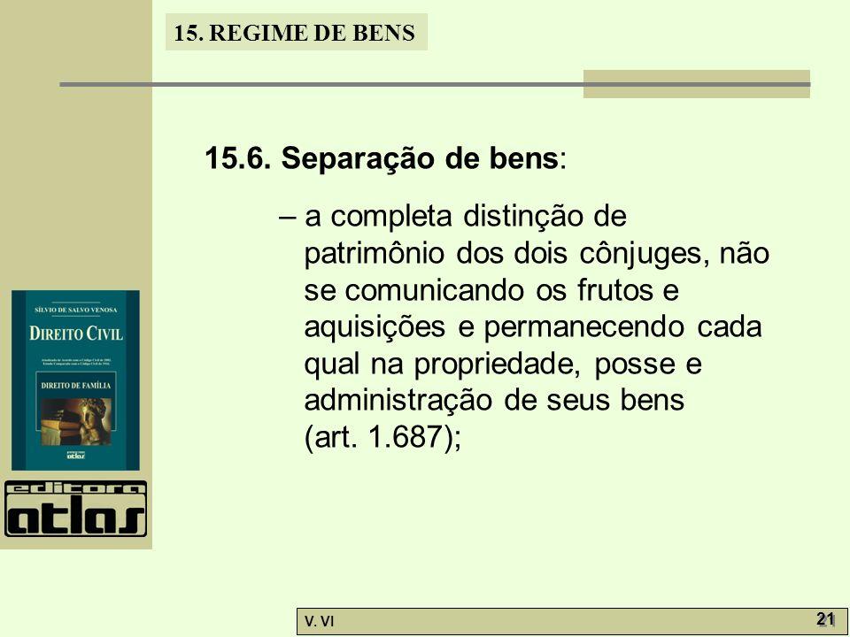 15.6. Separação de bens: