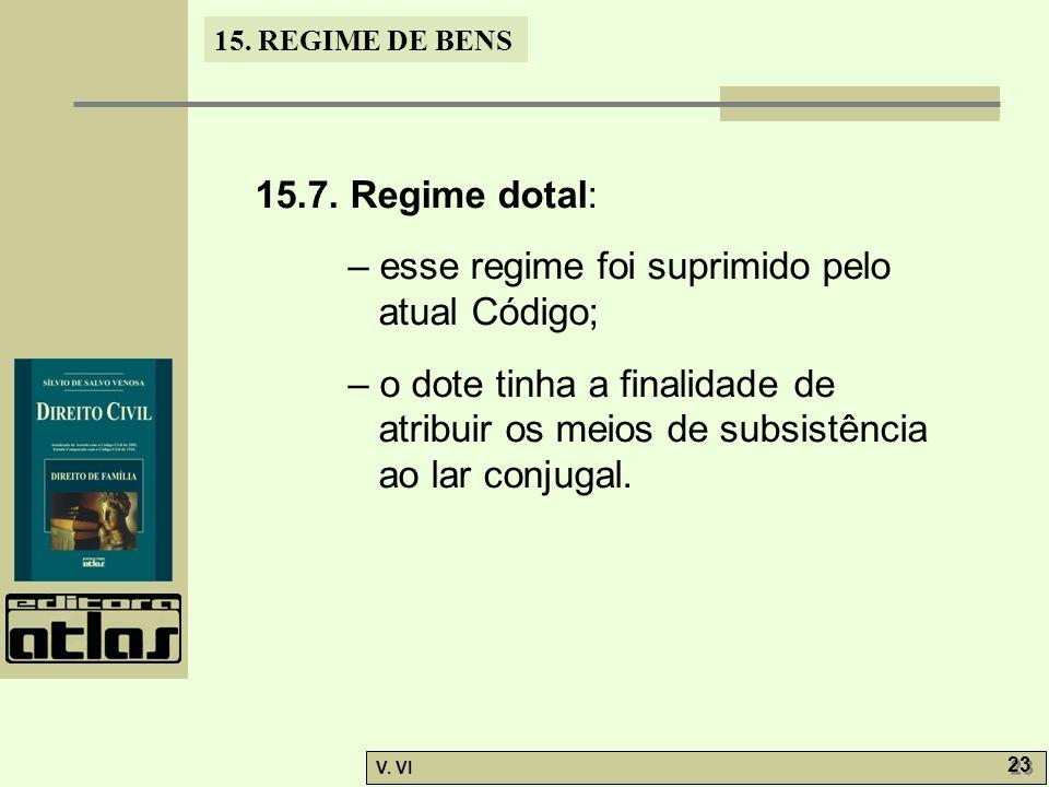 15.7. Regime dotal: – esse regime foi suprimido pelo atual Código;