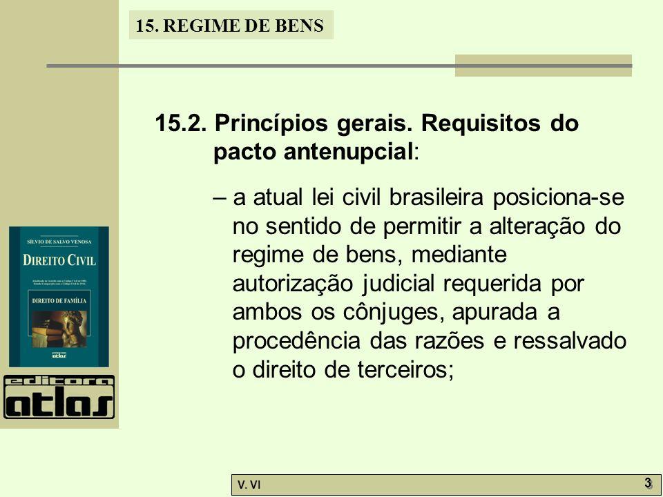 15.2. Princípios gerais. Requisitos do pacto antenupcial: