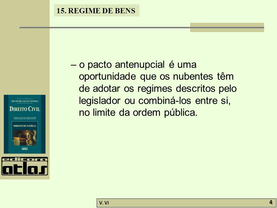 – o pacto antenupcial é uma oportunidade que os nubentes têm de adotar os regimes descritos pelo legislador ou combiná-los entre si, no limite da ordem pública.