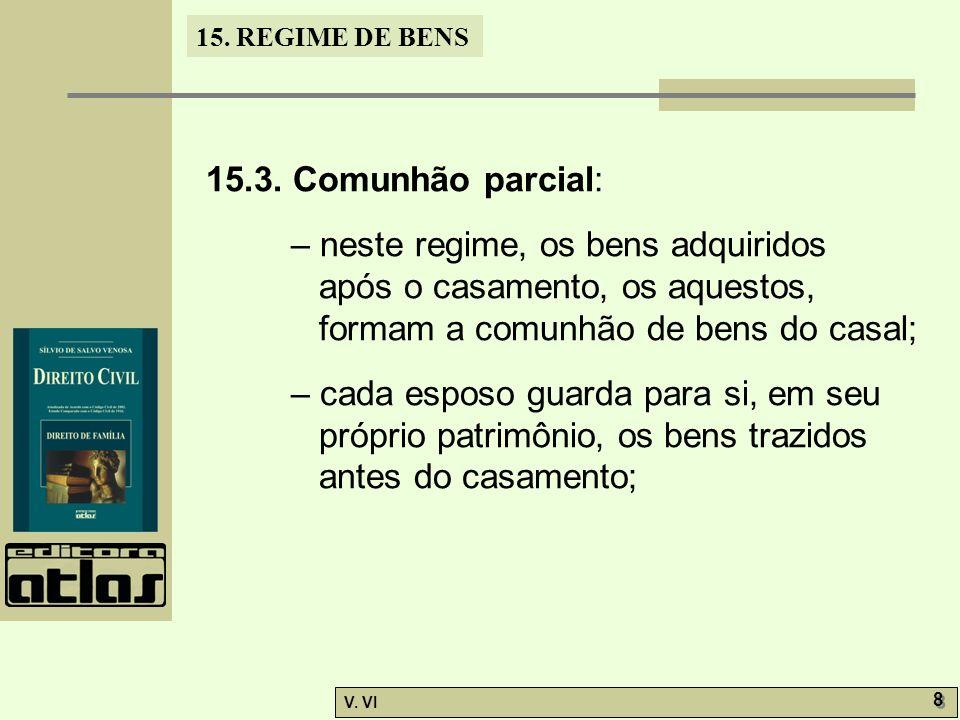 15.3. Comunhão parcial: – neste regime, os bens adquiridos após o casamento, os aquestos, formam a comunhão de bens do casal;