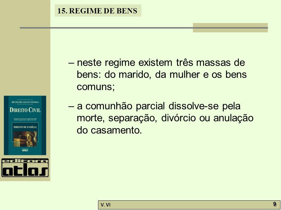 – neste regime existem três massas de bens: do marido, da mulher e os bens comuns;