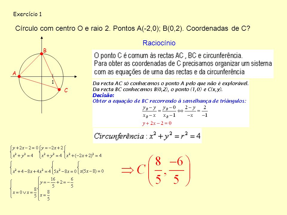 Exercício 1 Círculo com centro O e raio 2. Pontos A(-2,0); B(0,2). Coordenadas de C Raciocínio. B.