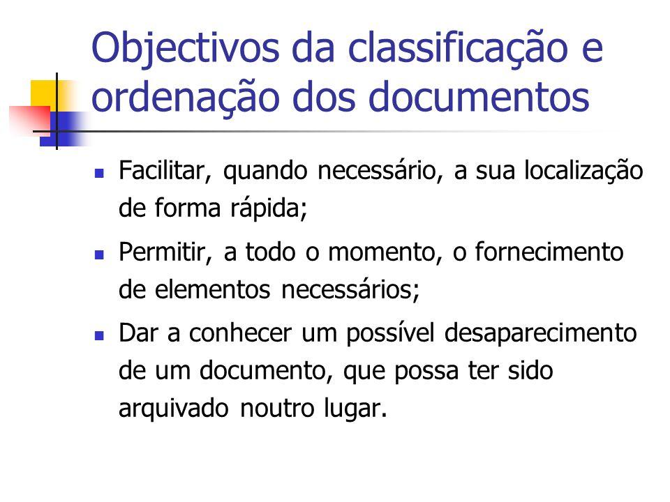 Objectivos da classificação e ordenação dos documentos