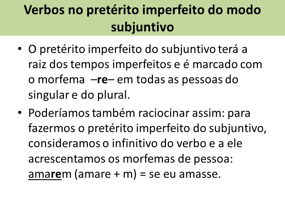 Verbos no pretérito imperfeito do modo subjuntivo