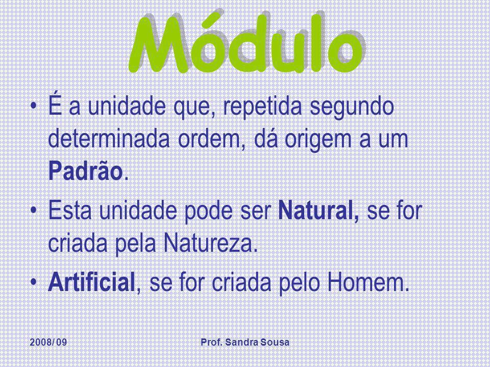 Módulo É a unidade que, repetida segundo determinada ordem, dá origem a um Padrão. Esta unidade pode ser Natural, se for criada pela Natureza.