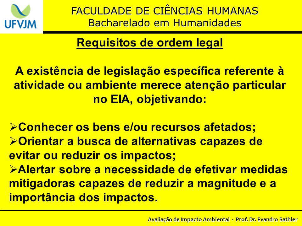Requisitos de ordem legal