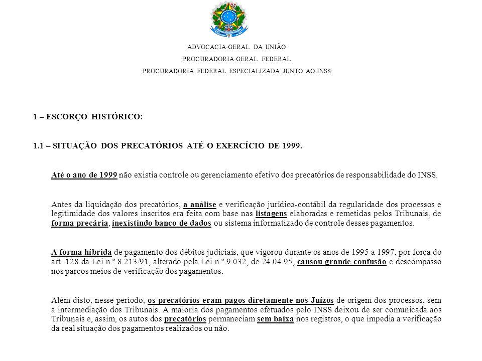 1.1 – SITUAÇÃO DOS PRECATÓRIOS ATÉ O EXERCÍCIO DE 1999.